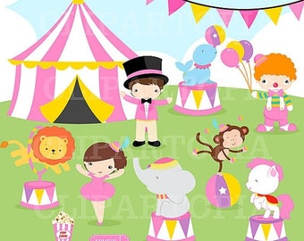 50% OFF SALE Pink Circus Digital clipart / Girls Circus clip art for Personal and Comercial Use/ Instant Download
