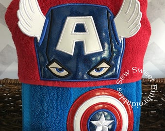 Captain America Inspired Hooded Towel/Childs Hooded Towel/Towel/ With Or Without Personalization/ Super Hero Towel