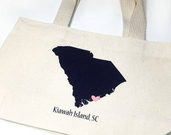 Set of 12 South Carolina Tote Bags, Wedding Welcome Tote Bags, Bridesmaid Gift Bags, Bridal Party Totes, Out of Town Guest Bags