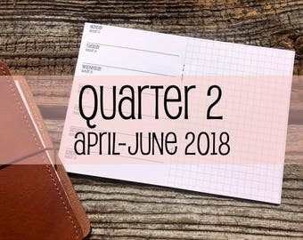 Traveler's Notebook A6 Size Week on One Page with Grid {Q2 | April-June 2018} #500-22