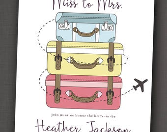Traveling Bride Miss to Mrs Bridal Shower Invitation 5x7: Printable and Customizable