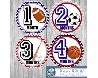 Baby Boy Month Stickers, Monthly Baby Stickers, Set of 12 Month to Month, Month Stickers Boy, Sports, Baseball, Soccer, Football