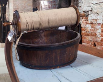 Wooden Ship Bucket, Wooden Bucket, Ships Rope, Italian Navy, Brick, Brown, Wood, Iron, Antique Photography
