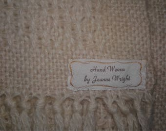 Vtg 90s Handwoven Off White Textured Scarf