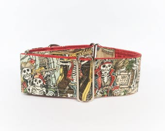 Treasure Cove collar (dog collar, greyhound martingale, buckle pirates bones skulls treasure port sailors handmade print, cotton)