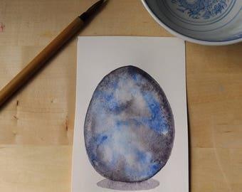 Marble Dragon Egg Watercolor Painting OOAK
