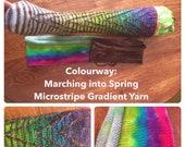 Microstripe - self stripe sock yarn from a blank Marching into Spring