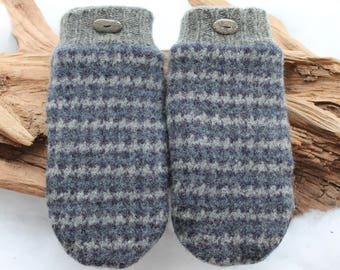 Wool sweater mittens lined with fleece with Lake Superior rock buttons in blue and gray, Valentines, winter wedding, birthday, anniversary