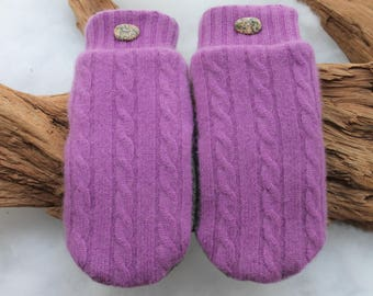 Cashmere sweater mittens lined with fleece with Lake Superior rock buttons in ultra violet, purple cashmere mitterns, Valentines Day