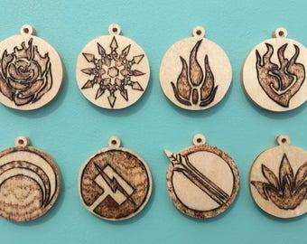 Wooden RWBY and JNPR Keychains