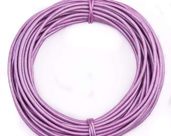 Lilac Metallic Round Leather Cord 2mm 25 meters (27.34 yards)