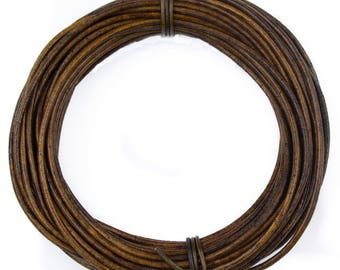 Antique Brown Natural Dye Round Leather Cord 1mm 10 meters (11 yards)