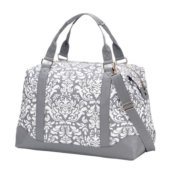 Ella grey damask Weekender luggage tote bag weekender bag monogram weekender bag duffel bag monogram bag womens luggage