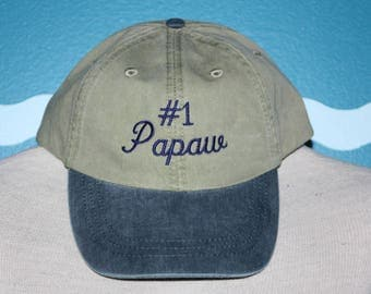 Papaw Baseball Cap - Embroidered Hat - Custom Ball Cap - Number 1 Papaw Hat - Custom Embroidery - Granddad Gift - Grandparents Day