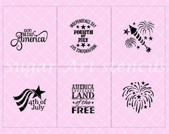 4th of July stencils patriotic land of the brave set of 6 designs Sl81