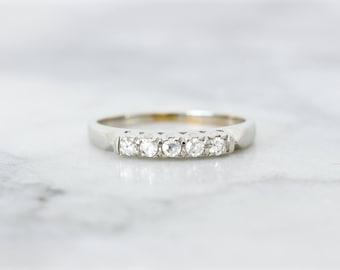 Simple Diamond Wedding Ring | Mid Century Wedding Band | Classic 1940s Wedding Ring | 14k White Gold | Dainty Diamond Jewelry | Size 4.25