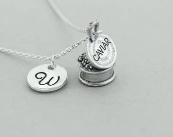 simple Caviar  necklace pendant sterling silver - Caviar pendant necklace - personalized  Caviar  necklace - initial charm necklace