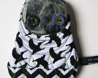 Snowman pocket with bird pattern
