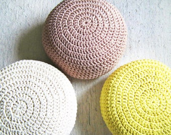 Blush Pink Crochet Pouf, Foot Stool Pouf Ottoman, Blush Pink Nursery Decor, Floor Cushion, Crochet Round Floor Pouf, Floor Pillow, Pouffe