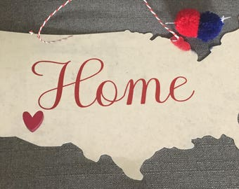 July 4th, Patriotic USA Hanging Home Decor Sign