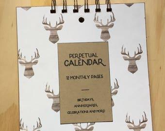 vintage inspired perpetual calendar. birthday/anniversary calendar. deer stag.