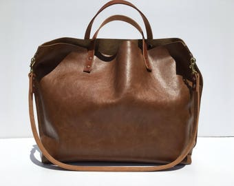 SALE! Large Brown Leather Gym, Travel, Yoga, ETC. Carry All Tote