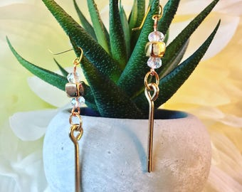 SALE: Gold Rod and Sparkly Crystal Dangle Earrings - In-Stock, Ready To Ship! Lightweight - Delicate - Dainty