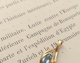 French  vintage 18k solid yellow gold solid gold faceted blue aqua marine pendant ornate vintage blue gemstone aqua marin pendant