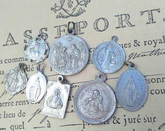 Large lot 8pcs French antique religious medal bronze silver aluminium N D de lourde Virgin mary Jesus sacred heart crucifix cross reliquary