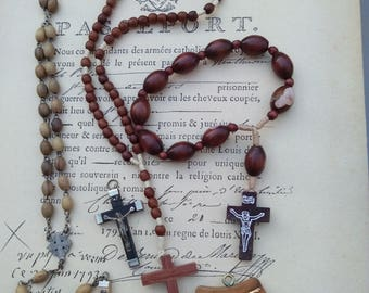 Lot 4 French antique  cross rosetree wood  beads bronze religious medal cross crucifix ornate cross sacred heart crystal blue beads