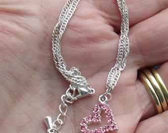 Retro Heart Pink Rhinestone Anklet