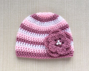 Newborn girl hat Newborn Photo prop hat Baby girl hat Newborn hat Crochet baby hat Newborn beanie with flower New born baby girl beanie hat