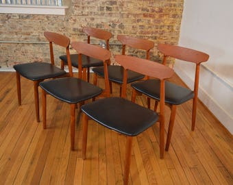 Harry Ostergaard For Randers Set Of Six Danish Teak Dining Chairs
