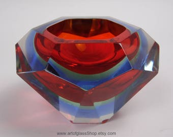 Vintage Murano sommerso red, green & blue 'geode' glass bowl