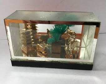 vintage Japanese  glass box diorama with pagoda and deer