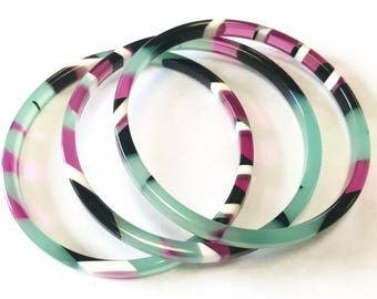 Set of 3 Acetate Bangles in Jade