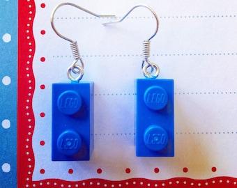 Blue Lego earrings