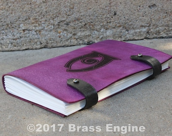 Conjuration Sketch Journal 6x9 - 120 pages - Hand Bound - Laser Etched - Violet - Skyrim Spell Tome