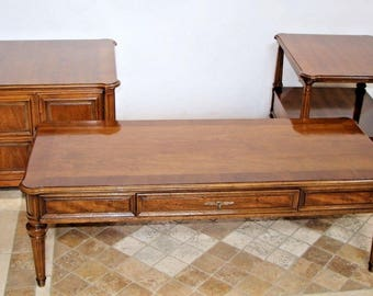 Henredon three piece set coffee table matching end table and Low Cabinet Walnut, safe nationwide shipping available call for rates!