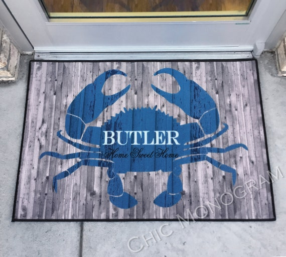 Personalized Rustic Crab Door Mat Beach House Doormat Wedding Gift Ideas Monogrammed Gifts Personalized Custom Rug Monogram Front Door Mat