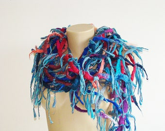 Multicolored Blue Scarf / Vest Felted Handwoven Boho Scarf Boa  Fringe Tassels Shawl  Hippie Gypsy  Neck Wrapper Scarf