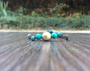 Tahitian pearl and turquoise beads on braided leather - woman boho chic bracelet