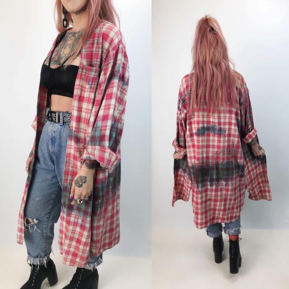 90's Long Distressed Flannel Shirt Layer Medium/Large Unisex - Tie Dye Grunge Baggy Holey Floor Length Flannel - Tie Dye Duster Robe Top