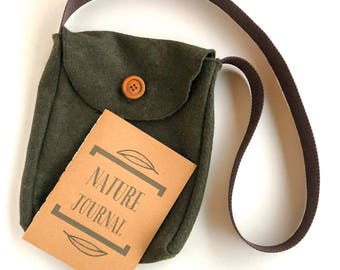 Kid's Adventure Satchel with Nature Journal and Wooden Pencil, Hiking Pack, Knapsack, Charlotte Mason Cross-body Bag for Boys, Messenger Bag