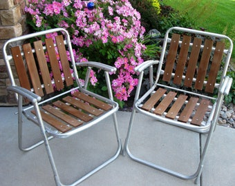 WOOD LAWN chairs - Aluminum Folding Chair- SET Of 2 -1960s- wood folding chair -vintage camper -cedar - red wood chair -patio deck furniture