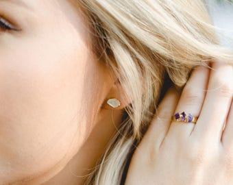 raw crystal studs | raw quartz earrings | april birthstone studs | april birthstone earrings | herkimer diamond earrings | quartz studs