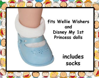 Vintage 2-1/8 inch x 1-1/8 inch Blue Rubber Doll Shoes / Disney My First Princess Toddler doll/American Girl Wellie Wisher