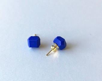 Cobalt Geometric Stud Earrings  - Geo Earrings - Simple - Minimalistic - Modern - Lightweight