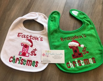 Baby's First Christmas bib, personalized