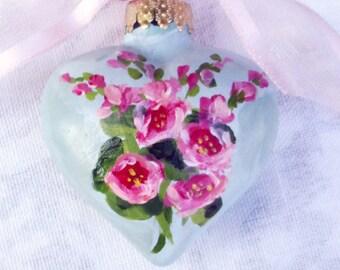 Hollyhocks Heart Ornament ~ Handpainted Hollyhocks ~ February Birthday ~ Cottage Chic